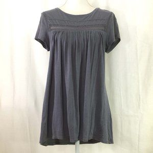 LOFT knit top lace insert high low hem (K183)